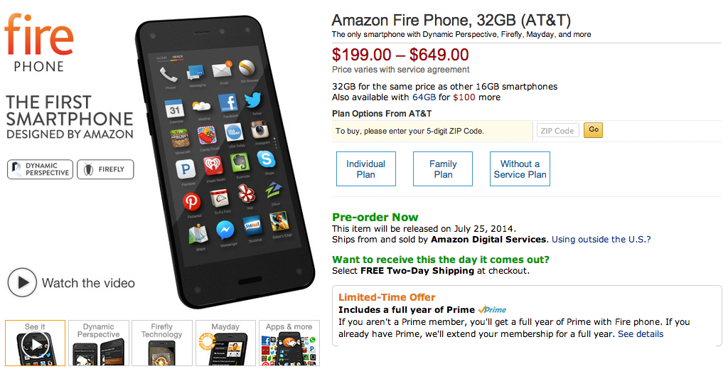 iPhone's and the Galaxy has competition... Amazon Fire Phone - The only smartphone with Dynamic Perspective