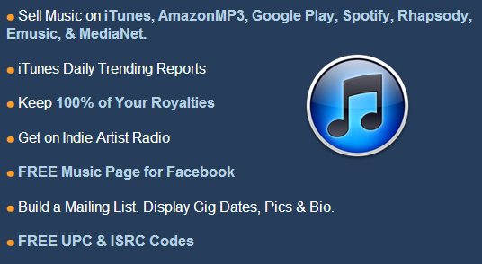 Sign up today and you will be selling music online with iTunes, AmazonMP3, Google Play and more!