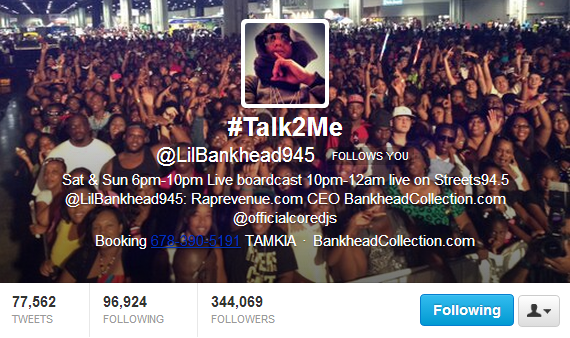 Lil Bankhead on : Twitter @LilBankhead945 ( over 344,000 Followers)