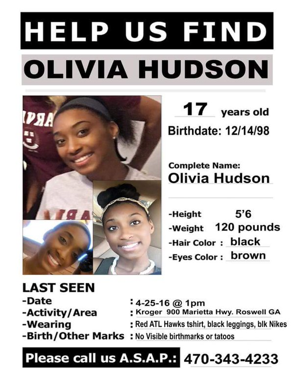Teen Olivia Hudson Missing From Roswell Georgia